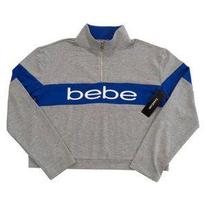 bebe ~ Cropped Long Sleeve 1/4 Zip Pullover Top